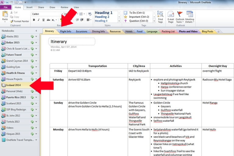 How to use onenote for travel planning susan solo for Onenote section template
